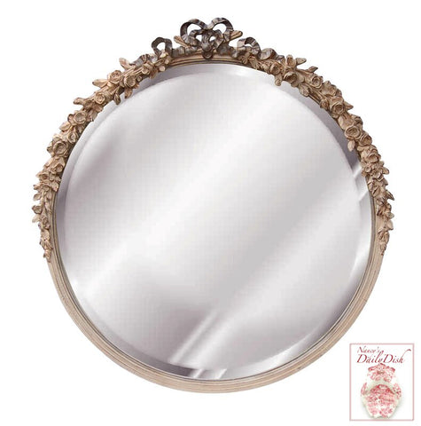 Ribbon and Roses Beveled Bow Topped Round Mirror