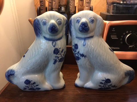Vintage Pair Blue Chintz English Staffordshire Spaniel Dog Figurines  - English Country Decor