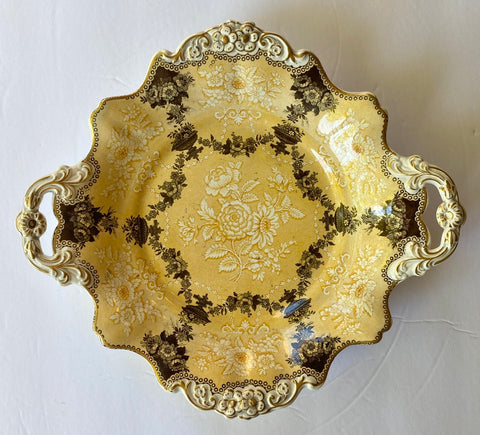 1835 Bi Color Yellow Transferware Handled Plate Etruscan Festoon Ridgway