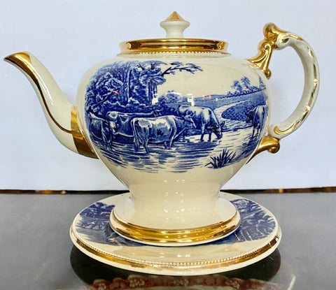 Antique A Wood Blue & White Transferware Teapot Horses Highland Scottish Cattle