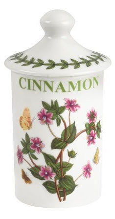 New Portmeirion Botanical Cinnamon Spice Jar Pink Flowers Green Leaves Butterfly