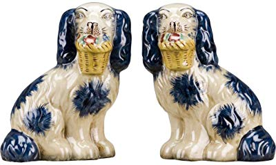 Pair Blue spotted English Staffordshire Dogs w/ Baskets Spaniel Figurines
