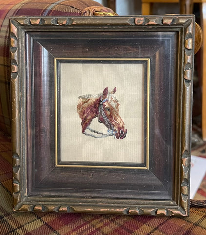 Vintage Framed Needlework Petit Point Horse 🐎 Head Portrait Equine Equestrian Horses