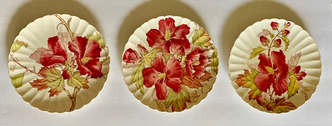 Set of 3 Different Antique 19C Aesthetic Movement Red Transferware Hibiscus Plate by Brown Westhead & Moore