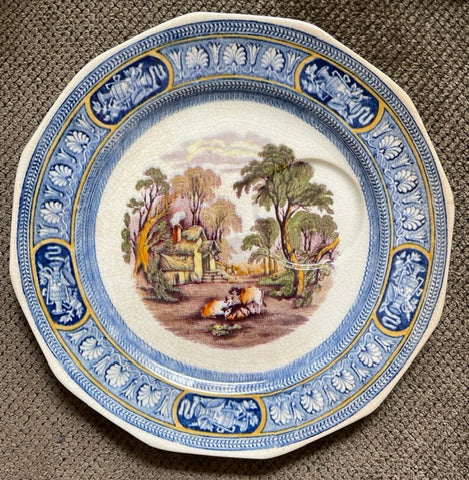 Bi-Color Blue & Purple Transferware Plate Farm Scene Cows