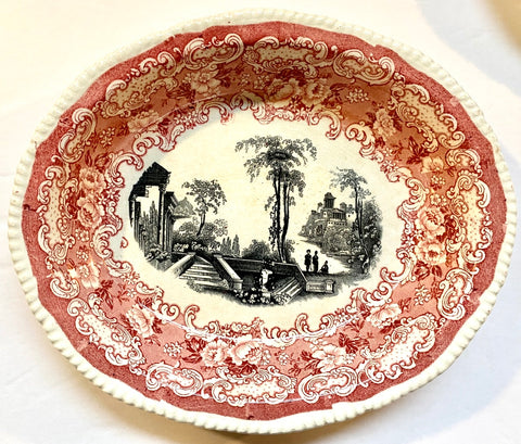 Bishop & Stonier Athena Oval Bowl Bi Color Transferware Red & Black Victorian Scrolls Roses