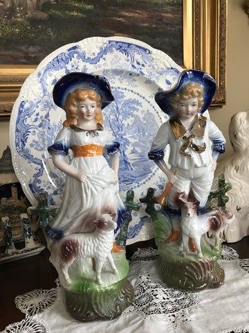 Pair Figurines Boy and Girl w/ Dog & Sheep Blue Flowers