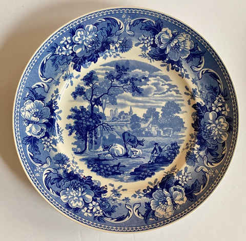 Pastoral Sheep & Cows Plate Wedgwood Blue Transferware