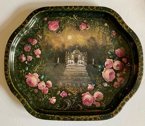 Vintage English Tole Tray Moonlit Scene Garden Fountains & Roses Chatsworth House Devonshire