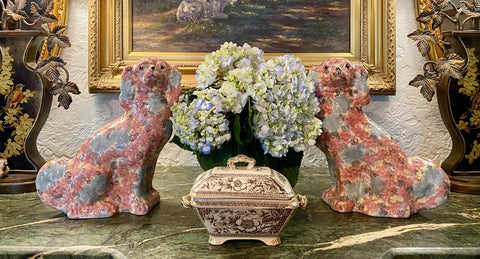 Pair of Staffordshire Spaniel Dogs Sponge Pastel Floral Chintz Spaniel Pink & Blue
