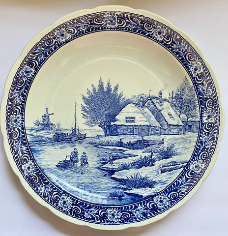 Vintage HUGE Blue & White Children & Cottage on River Delft Wall Plaque Charger /  Round