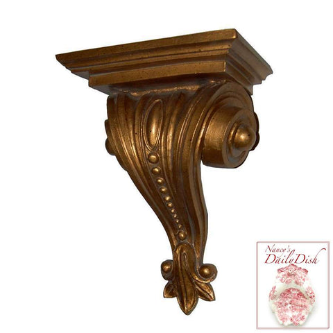 Architectural Shell Scroll Wall Corbel Bracket Ornamental Shelf Overdoor Bronze