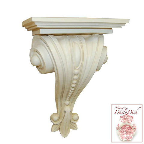 Architectural Shell Scroll Wall Corbel Bracket Ornamental Shelf Overdoor Ant. White