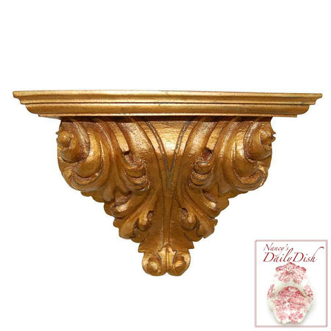 Architectural Leaf Scroll Wall Corbel Bracket Ornamental Shelf Overdoor Gold Finish
