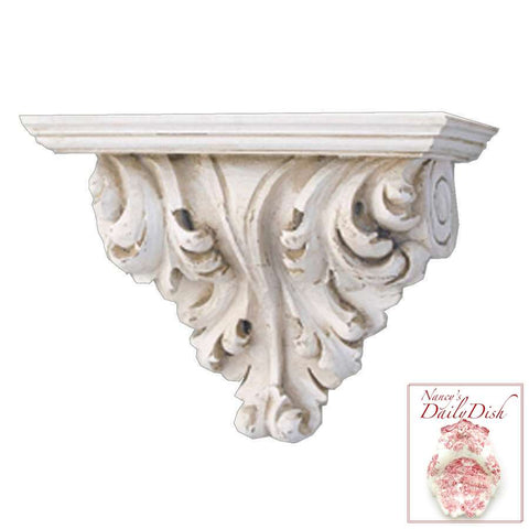 Architectural Leaf Scroll Wall Corbel Bracket Ornamental Shelf Overdoor Ant. White