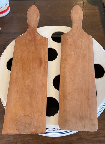 Antique  Wooden British Butchers Butter Paddles / Hands / Spatula