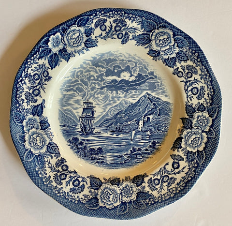 Scenic Blue & White Transferware Scalloped Plate Loch Oich Highlands Scotland