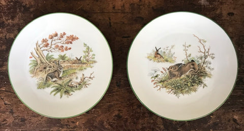 Pair of Vintage Bavarian Woodland Rabbits in the Forest Plates Green Trim
