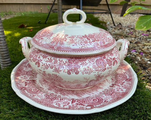 Vintage Red / Pink Transferware Soup Tureen & Platter Country House Trees Flowers Villeroy & Boch