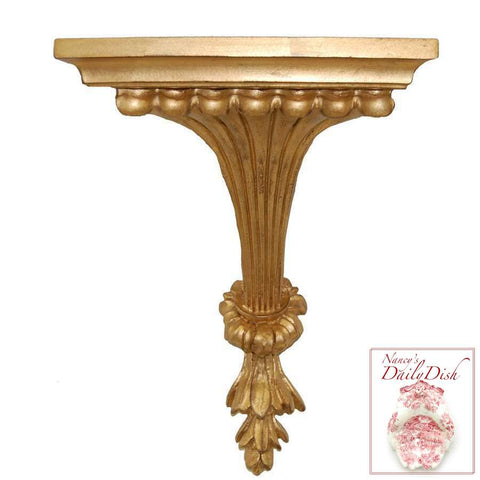Architectural Fluted Leaf Wall Corbel Bracket Ornamental Shelf Antique Gold Finish