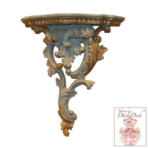 Scroll & Plume Antique Blue Ornamental Wall Bracket (Right)