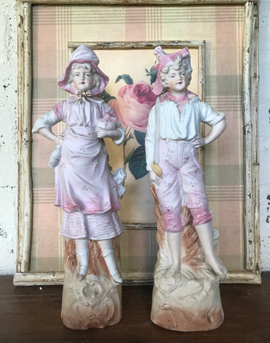 Pair Vintage French Country Children Figurines Boy & Girl Pink & White Hand Painted