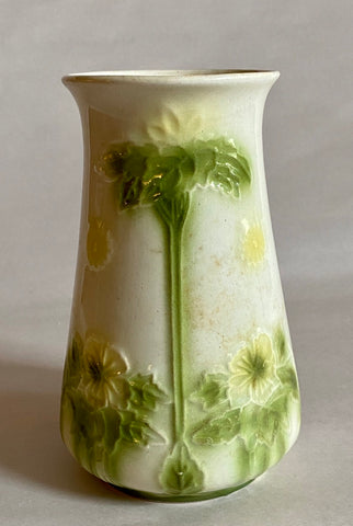 19th C Antique English Majolica Vase Yellow Flowers Green Leaves
