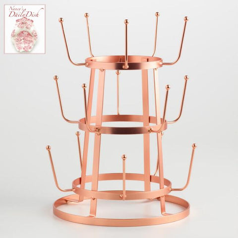 Copper Finish Vintage Style Industrial French Farmhouse Iron Mug / Cup / Glass Bottle Organizer Tree Drying Rack Stand