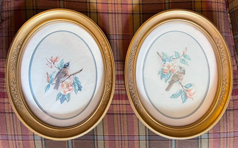 Vintage Pair Antique Oval Framed Bird & Flower Botanical Prints