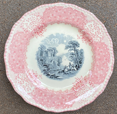 Antique English Pink / Red & Black Bi Color Transferware Scenic Plate Royal Doulton Chatham 9""