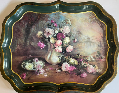 Vintage English Garden Roses Still Life Dark Green Tole Tray