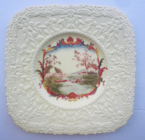 EMBOSSED LAKE SCENERY SQUARE BROWN TRANSFERWARE PLATE RELIEF SUNFLOWER BORDER ROW BOAT PASTORAL LAKE & CABIN SCENE