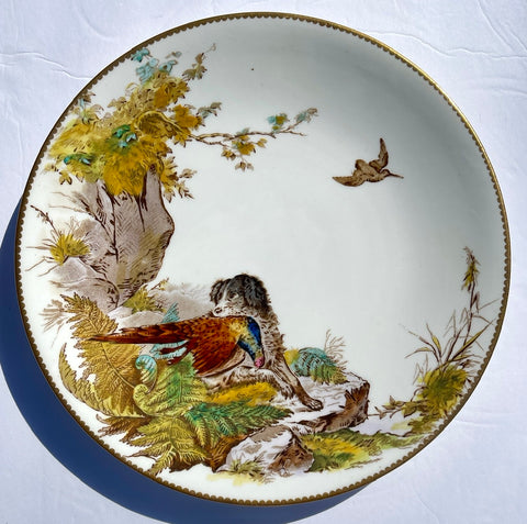 William Brownfield Antique English Transferware Polychrome Plate Dog w/ Pheasant Hunt Scene Aesthetic Movement