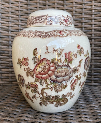 Vintage Brown Transferware Floral Chinoiserie Ginger Jar / Cookie Jar Crown Devon