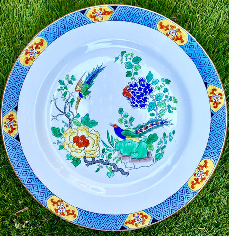 Antique Blue & White English Chinoiserie Clobbered Plate w/ Peacocks & Flowers