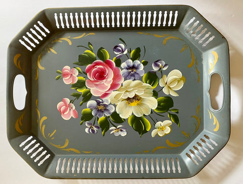 Vintage Handled Reticulated Hand Painted Flowers Grey Gray Tole Toleware Tray