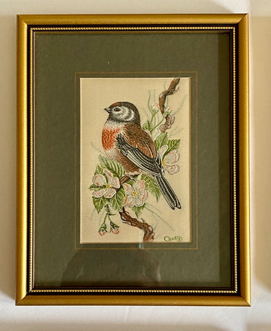Vintage English Woven Silk Linnet Bird on Flowering Branch Matted in Gold Frame