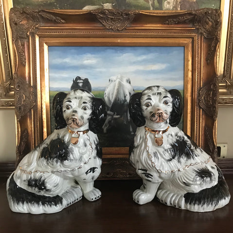 Pair of Vintage X Large Black & White Gilt English Staffordshire Spaniel Dog Figurines  - English Country Decor