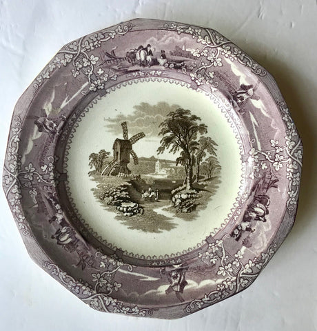 Antique Early Staffordshire Circa 1850-60  Purple Brown Two Color Transferware Plate Working Farm Windmill Trellis Eon