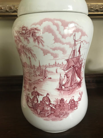 Clipper Ship RARE Red Transferware Ironstone Canister Lidded Jar Safe Harbour Port Scene Staffordshire England