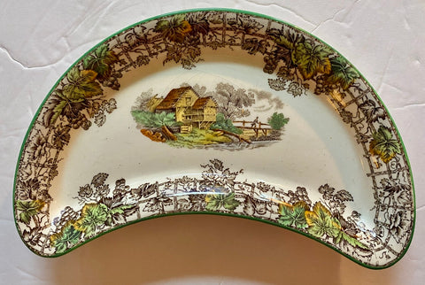 Spode Byron Brown Transferware Crescent Salad Plate Bone Dish Pastoral Cottage Scenery