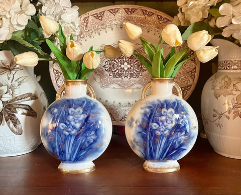 Pair 19C Aesthetic Mvmt Blue Transferware Daffodil English Moon Flask Pillow Vases