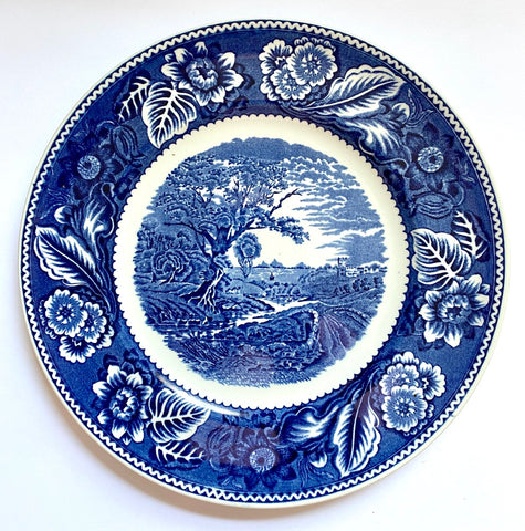 Vintage Blue English Transferware Plate Woods Woodland Pastoral Winding River Scene
