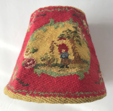 Vintage Country French Needlepoint Clip On Lamp Shade