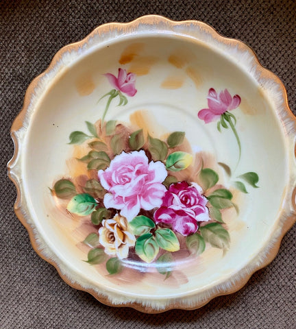 Antique Enesco Hand Painted Pink Roses Bowl w/ Ruffles Gilt Rim