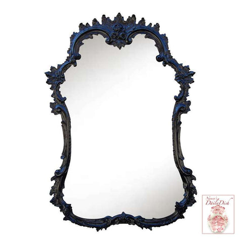 Ornate French Hand Finished Entryway or Wall Mirror with Flat Black Finish