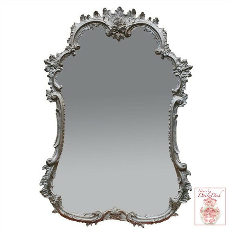 Ornate French Hand Finished Entryway or Wall Mirror with Shimmer Silver Finish