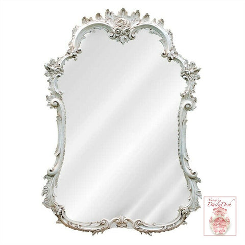 Ornate French Hand Finished Entryway or Wall Mirror with White Finish