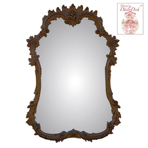 Ornate French Hand Finished Entryway or Wall Mirror with Walnut Finish