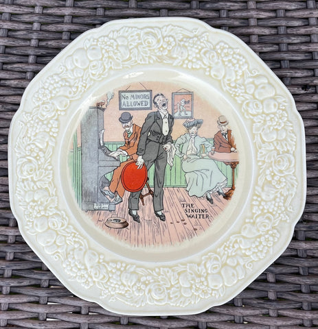 THE SINGING WAITER Antique English Pub Plate Transferware Humorous Saloon Bar Decor # 6 of 6